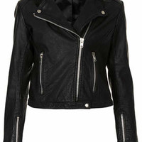 Collarless Leather Biker - Black