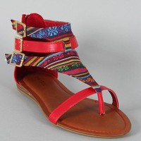 Bamboo Ashley-51 Gladiator Tribal Print Flat Sandal