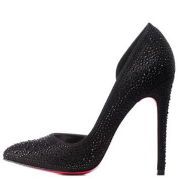 Black Rhinestone D'Orsay Pointed Toe Pumps by Charlotte Russe