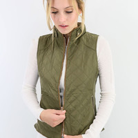 Mystic Forest Olive Quilted Puffer Vest With Contrast Trim
