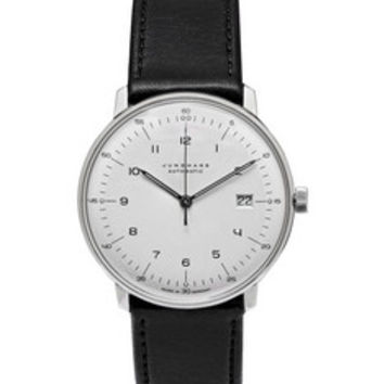 Junghans - Max Bill Automatic Stainless Steel and Leather Watch   MR PORTER