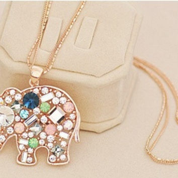 Satr Jewelry Korean Fashion Jewelry For Women New Crystal Lucky Lovely Elephant Necklace Pednat Necklase Long Chain (With Thanksgiving&Christmas Gift Box)= 1946092036