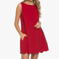 June Scallop Shift Dress - Red