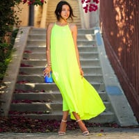 Strap Pure Candy Beach Long Dress