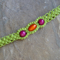 Lime Green Hemp Macrame Beaded Bracelet or by KnottyandNiceHemp