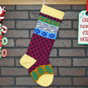 Hand Knit Christmas Stocking with Yellow Cuff, Blue Snowflakes and Green Trees, Fair Isle Knit, colorful, can be Personalized
