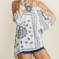 Women's Cold Shoulder Tunic with Print