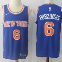 NBA Authentic Basketball Player Jerseys New York Knicks # 6 Kristaps Porzingis Blue