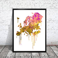 WATERCOLOR Europe MAP, Europe Map, Watercolor Painting, Watercolor poster, Handmade poster, Continent poster, map watercolor, map art