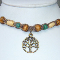 Tree of Life  Hemp Necklace  Choker   long anklet  hippie   handmade macrame jewelry