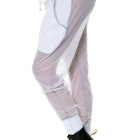 White Mesh Drop Crotch Joggers - Two Pockets