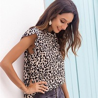 Leopard Print Tunic Shirt Top Blouse