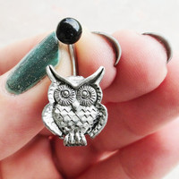 Silver Owl Belly Button Jewelry Ring