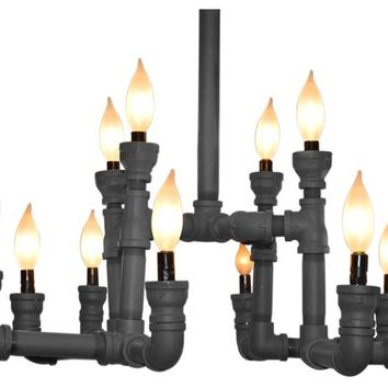 Gothic Style Plumbing Pipe 12 light Chandelier