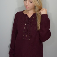 DEBBIE LACE-UP SWEATER