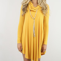 Crown Heights Mustard Cowl Neck Long Sleeve Curved Hem Dress