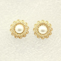 Antique Style Pearl Filigree Magnetic Earrings 21 mm