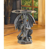 Regal Hissing Dragon Old Castle Gargoyles Accent Table