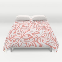 Organics in Coral Duvet Cover by House of Jennifer