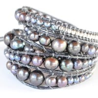 Wrap Bracelet - Black cord | Silver metal Beads | Black Peacock Pearls