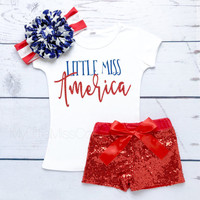 Little Miss America, Baby Girl' 4th of july Outfit, Baby Girl sparkle top Bodysuit 4th of July, Baby Girl' clothes, Holiday outfit, July 4th
