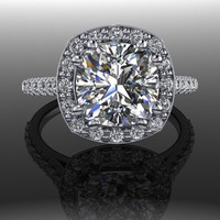 Forever Brilliant Moissanite and Diamond Halo Engagement Ring 3.0 CTW