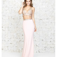 Peach Two Piece Halter Iridescent Crop Top & Skirt