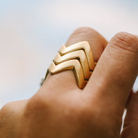 Stackable Triple Chevron Ring