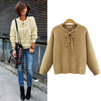 Kniited Oversized Sweater Women 6xl 5xl 2016 Autumn Cute Bow pullover sweater women Slim O-Neck Solid Casual Female Sweaters