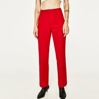 CROPPED STRAIGHT-CUT TROUSERS DETAILS
