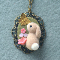 Needle felted bunny necklace / pendant, handmade rabbit with butterfly necklace, whimsical jewelry, lolita accessories, gift under 25