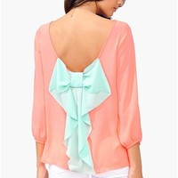 Waldorf Colorblock Blouse - Neon Pink at Necessary Clothing