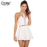 Women Jumpsuits EliaCher Brand 2017 Fashion Women Rompers Plus Size Women Clothing Chic Sexy White Lace jumpers Romper