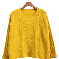 Rolled Cuff Knitted Sweater