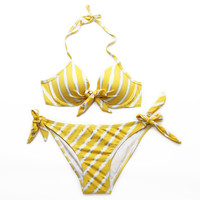 Gorgeous Halter Top Metallic Stripe Bikini Set