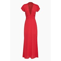 Valentina Short Sleeve Maxi Dress - Red Cherry Polka Dot Print
