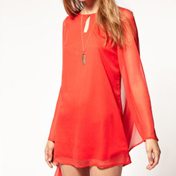 Long Puff Sleeve Mesh Cut-Out Mini Chiffon Dress