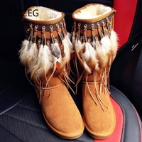 Snow Boots Winter Flat Women Boots with Fur Genuine Leather High Quality Shoes Women Fashion Feather Fringe Luxury Botas Mujer