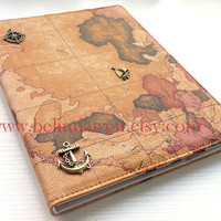 Ipad Case, World Map iPad Case, vintage map pu leather Ipad Case, Travelling the world with bronze Compass and anchor