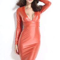 2016 Fashion New Women Dresses Plunging V-neck Long-sleeve Leather Orange Black Sexy Midi Dress for Sale