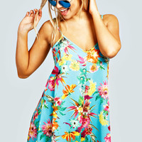 Jade Flower Print Swing Playsuit