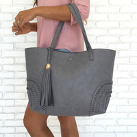 Stitch & Tassel Tote Handbag in Grey