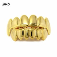 JINAO New Custom Fit Gold Plated Hip Hop Teeth Grillz Caps Top & Bottom Grill Set for Halloween Christmas Party Gift