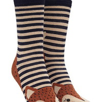 Striped Fox Graphic Crew Socks
