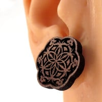 GD inspired Flower of Life Sustainable Wooden Post Earrings - Walnut Wood Studs