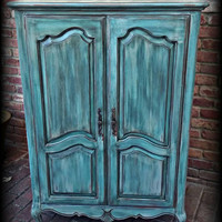 Vintage armoire ,  turquoise armoire, children's furniture, wardrobe armoire, Rustic wardrobe armoire, painted armoire, rustic tv cabinet