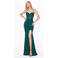 Lace Bodice Spaghetti Strap Long Formal Dress with Slit Hunter Green