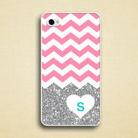 pink chevron heart glitter iphone 5C case - iphone 5s case - LOVE - personalized with teal initial, LUV iphone5 Case (not actual glitter)