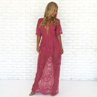 Wine & Dine Embroidered Maxi Dress in Pink