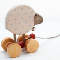 Kids Wooden Toy eco friendly sheep pull along toy